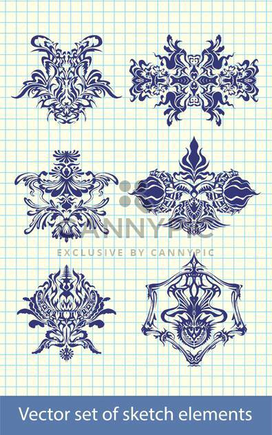 Abstract hand-drawn retro elements - Free vector #131629
