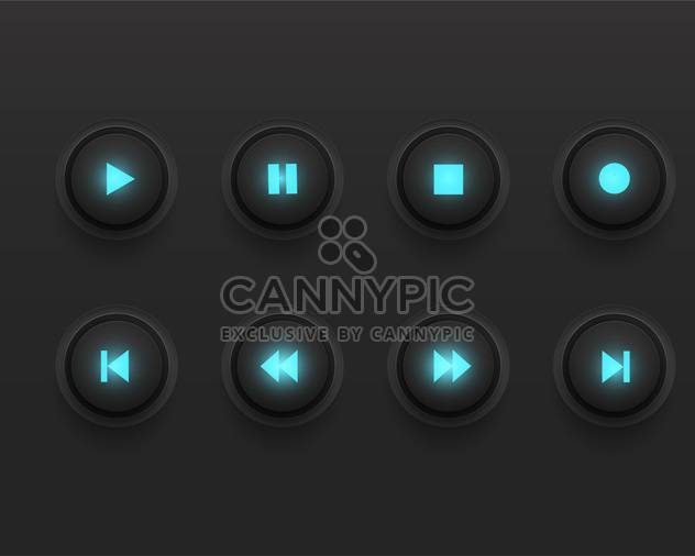 Glowing media player vector icons - Free vector #131659