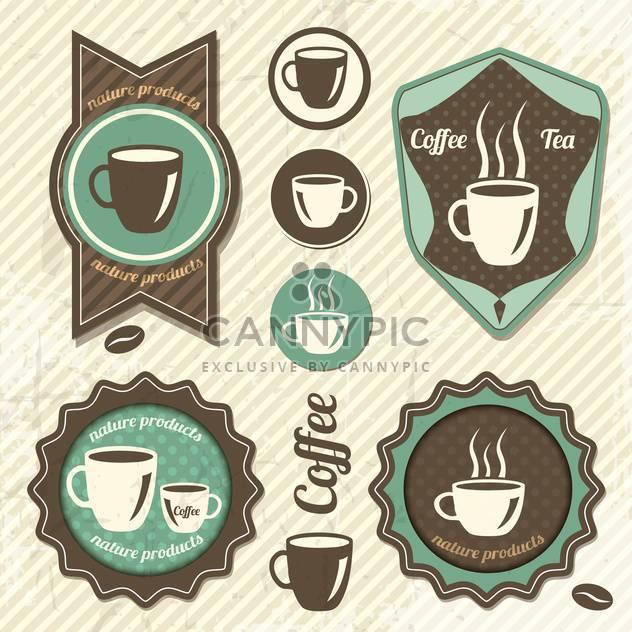 Eingestellt von Vintage Retro Coffee-Stempel - Kostenloses vector #131879
