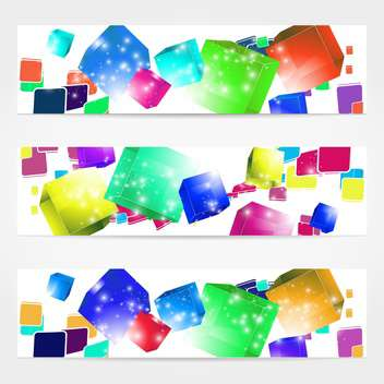 futuristic abstract background with colored cubes - vector gratuit(e) #131919