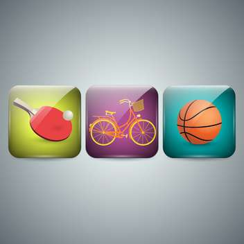 set of three sport icons on grey background - vector gratuit #131949
