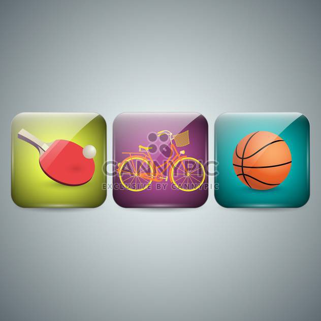 set of three sport icons on grey background - Free vector #131949