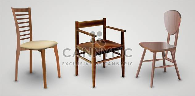 Wood Chairs set on white background - Free vector #132029