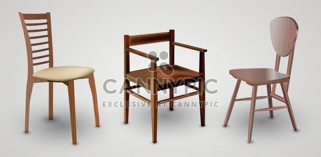 Holz-Stühle-set auf weißem Hintergrund - Free vector #132029