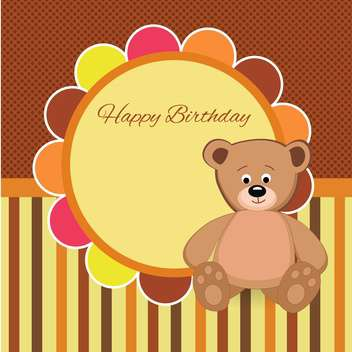Vector birthday party card with Teddy bear - vector gratuit #132079