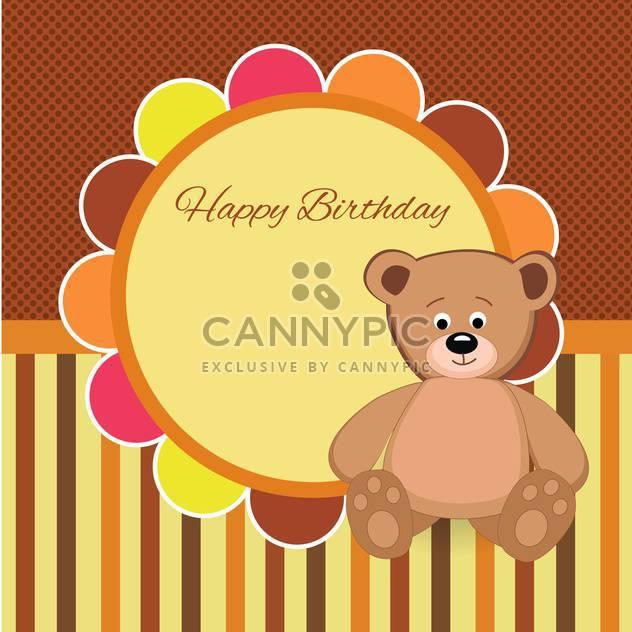 Vector birthday party card with Teddy bear - Free vector #132079