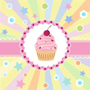 Cute happy birthday card with cupcake vector illustration - бесплатный vector #132089