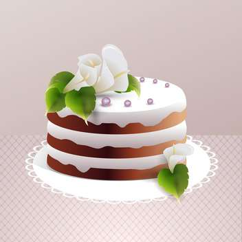 Sweet cake vector illustration on light brown background - Free vector #132099