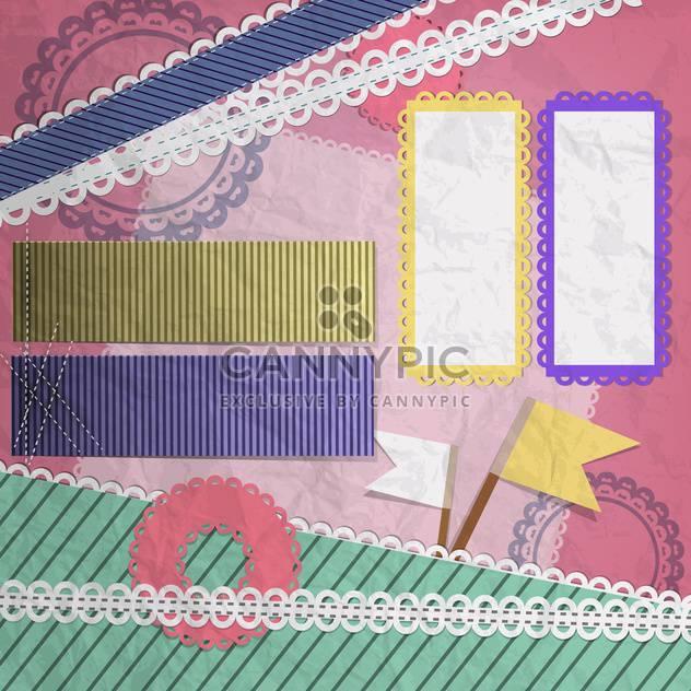 Vector set of vintage frames on pink background - Free vector #132109