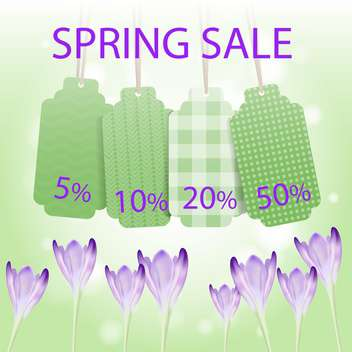 Spring sale labels on green floral background - бесплатный vector #132139