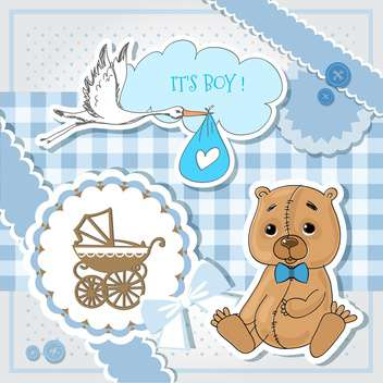 Baby shower blue invitation card - vector #132149 gratis