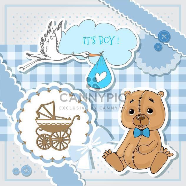 Blaue Einladungskarte der Baby-Dusche - Kostenloses vector #132149