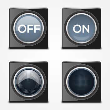 On, Off black buttons on white background - vector gratuit #132179