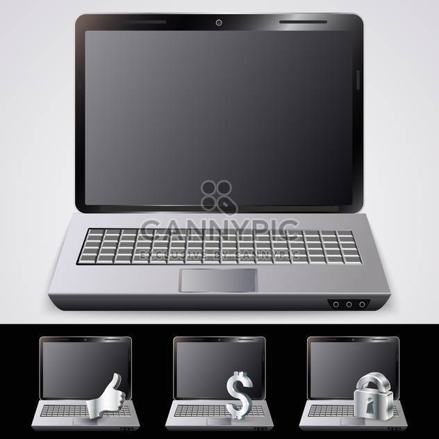 laptop notebooks set with metal thumbs up ,dollar and lock symbols - Free vector #132189