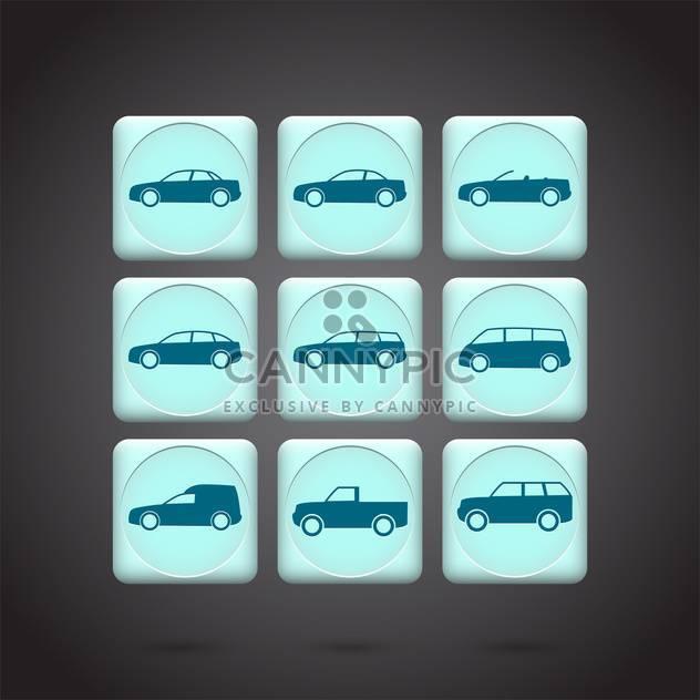 Vektor-grüne Autos-Schaltflächen festlegen auf schwarzem Hintergrund - Free vector #132199