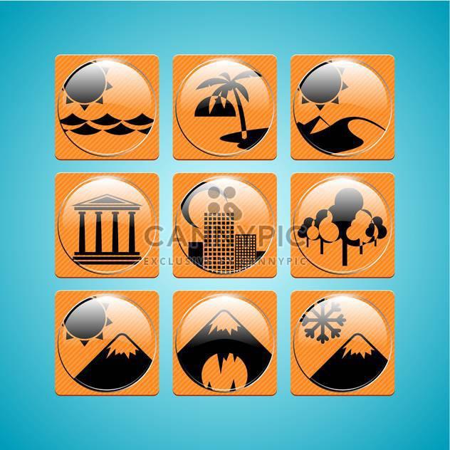 Orange Reisen Symbole auf blauem Hintergrund, Vektor-illustration - Free vector #132209
