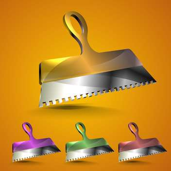 Trowel icons in different colors on orange background - Free vector #132249
