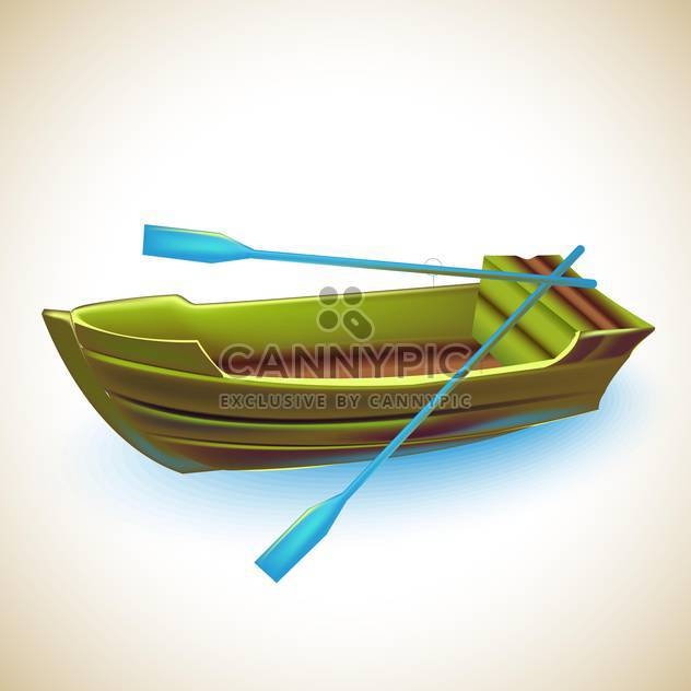 green wooden boat with blue oars ,vector illustration - Free vector #132279