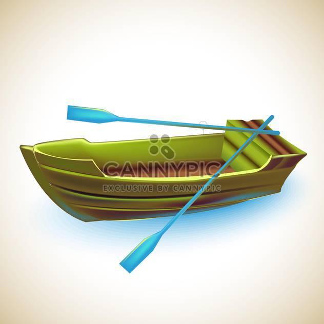 grüne Holzboot mit blauen Rudern, Vektor-illustration - Free vector #132279