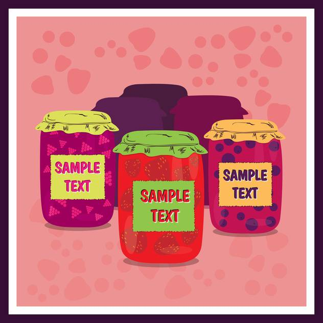 Jars of jam with on pink background ,vector illustration - Free vector #132299