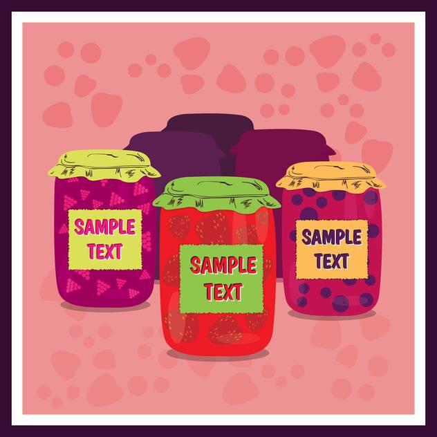 Jars of jam with on pink background ,vector illustration - vector #132299 gratis