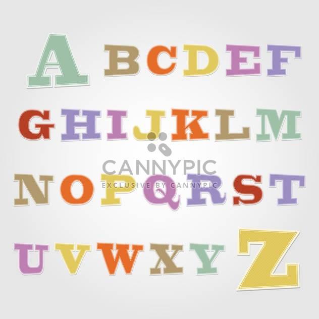 Freudige Aufkleber Schriftart - Buchstaben von A bis Z, Vektor-illustration - Kostenloses vector #132359