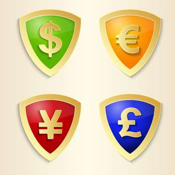 Currency signs with dollar, euro, yen and pound - vector #132369 gratis