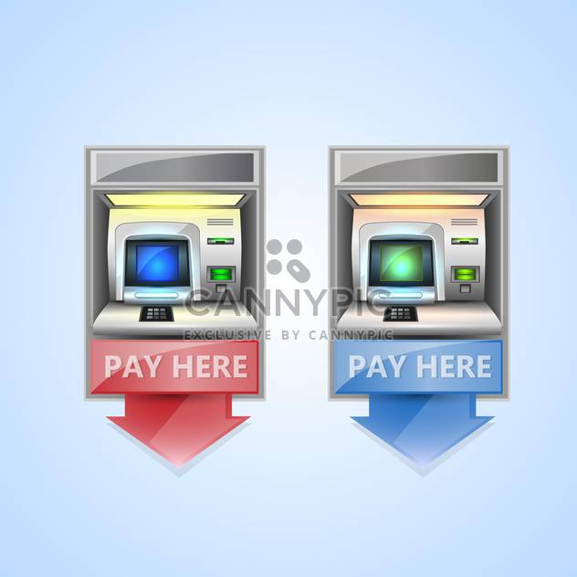 vector money atm on blue background - Free vector #132379