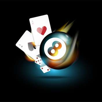 Vector casino icons -playing cards, bowling ball, dices - Free vector #132389