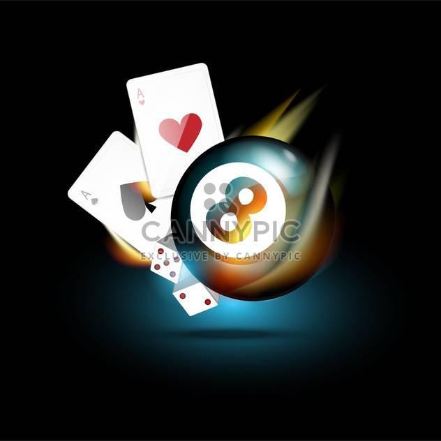 Vektor-Kasino Ikonen-Spielkarten, Bowling-Kugel, Würfel - Kostenloses vector #132389