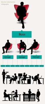 Business infographic elements with working business people silhouettes - Free vector #132419