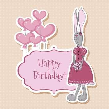 happy birthday card with bunny - vector #132549 gratis