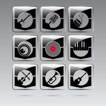 set of musical instruments buttons - vector gratuit #132579