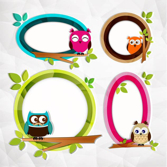 set of frames with owls background - vector #132599 gratis