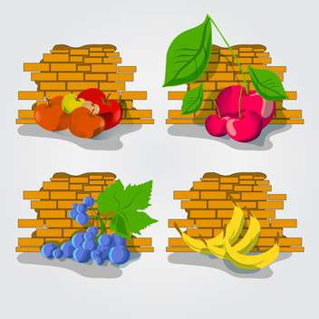 ripe fruits over brick wall - vector gratuit #132609