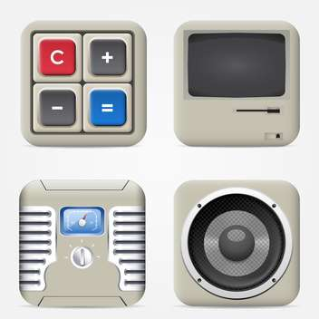 set of household electronic devices icons - vector gratuit #132629
