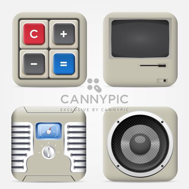 set of household electronic devices icons - Free vector #132629