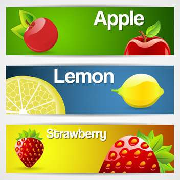 lemons, strawberries, cherries fruit lemons banners - vector gratuit(e) #132739