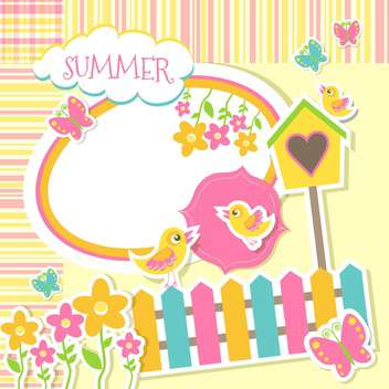 birds and flowers summer stickers - vector gratuit #132849