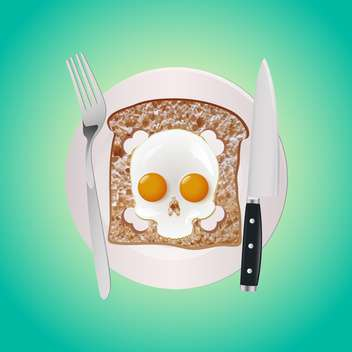 fried eggs with bread on plate - vector gratuit #132879