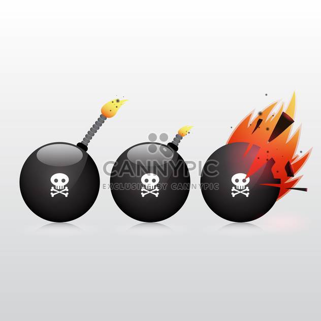 black bomb with scull and bones sign - Free vector #132929