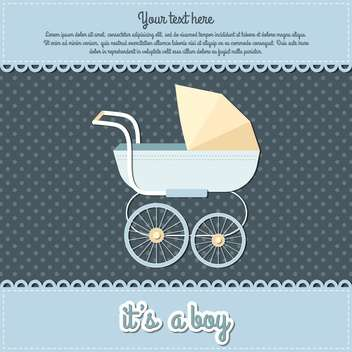 baby boy arrival announcement card - vector #132999 gratis