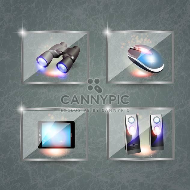 Symbole und Fernglas Computersatz - Kostenloses vector #133189