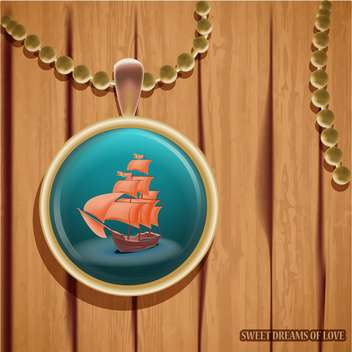 vector pendant with ship illustration - vector gratuit #133339