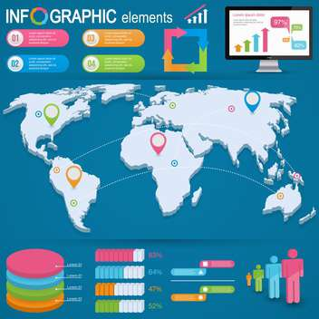 set elements of business infographics - Free vector #133679