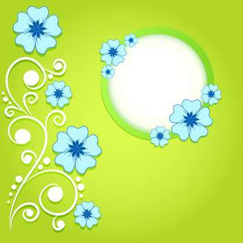 green invitation background with flowers - vector #133789 gratis