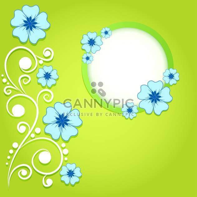 green invitation background with flowers - Free vector #133789