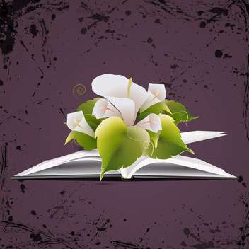 vector open book with flowers - vector gratuit #133839