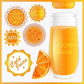 fresh orange juice with emblems - vector gratuit #133999