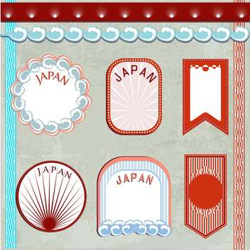 japan vintage elements set background - vector gratuit #134079